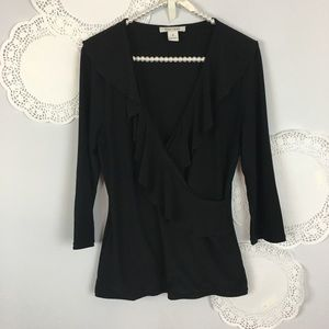 WHBM RUFFLE TOP Faux Wrap Knit Shirt Size M